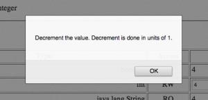 """JMX console description of """"decrement"""" method"""