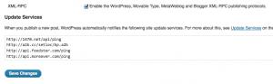 wordpress writing settings  update services