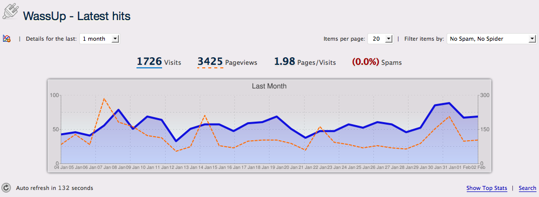 Last month's traffic on my blog