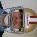 Liv with San Francisco 49ers NFL helmet